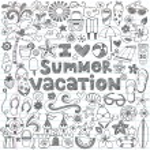 I Love Summer Vacation Hawaiian Tropical Hand-Drawn Sketchy Notebook Doodles- Vector Illustration — Stock Vector #31489185