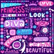 Princess Fairy Tale Diva Word Doodles Lettering Vector Illustration — Stock Vector