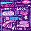 Princess Fairy Tale Diva Word Doodles Lettering Vector Illustration — Stock Vector