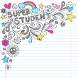 Super Student Education Back to School Rainbow Notebook Doodles Vector Illustration — Stock Vector
