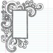 Randen van het frame van de foto van het rechthoek terug naar schetsmatig notitieblok voor leerling doodles — Stockvector