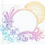 Summer Sunset Frame Sketchy Doodle — Stock Vector #8623646