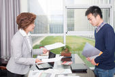 Business people work relations — Stock Photo