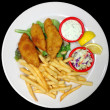 Plate of Battered Fried Fish Fillets with French Fries - Stock Photo
