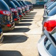 Row of Automobiles on a Car Lot on a Bright Sunny Day — Stock Photo