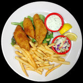 Plate of Battered Fried Fish Fillets with French Fries — Stock Photo