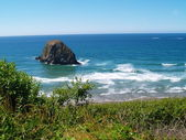 Rugged Rocky Beach on the Oregon Coast featuring Haystack Rock — Stock Photo