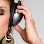 Headphones Woman — Stock Photo