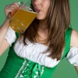 Beautiful Woman Drinking Beer - Stock Photo