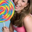 Giant Lollipop Girl — Stock Photo