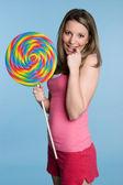 Girl Holding Giant Lollipop — Stock Photo