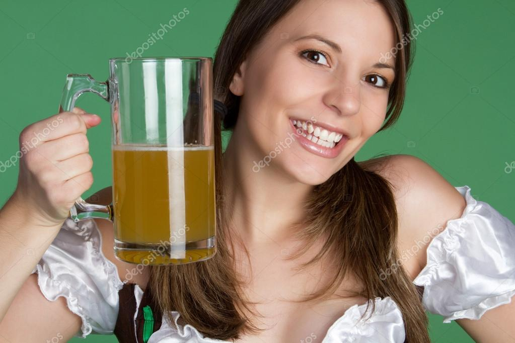 St Patricks Day Woman Holding Beer  — Stock Photo #12042619
