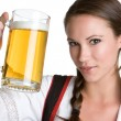 Woman Holding Beer — Stock Photo #12384113