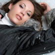 Woman Lying in Snow — Stock Photo