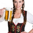Woman Holding Beer — Stock Photo
