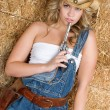 Cowgirl With Gun - Stock Photo