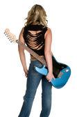Estrela de rock com guitarra — Fotografia Stock