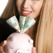 Woman Holding Piggy Bank — Stock Photo #16627691