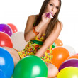 Party Girl with Balloons — Stock Photo #16627845