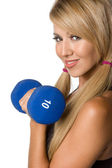 Latina Woman Lifting Weights — Stockfoto