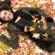 Happy woman lying on autumn leaves background - Stock Photo