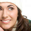 Portrait of young woman in white hat — Stock Photo