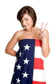 American Flag Girl — Foto de Stock
