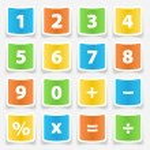 Calculator Button Stickers — Stock Vector #51628665