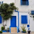 House with blue windows and doors. Tunisia,Sidi Bou Said. — Stock Photo