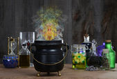Witch cauldron with smoke — Stock Photo