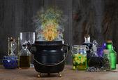 Witch cauldron with smoke — Stock Photo