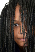 Young black girl with Cornrows over face — Stock Photo