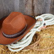 Stock Photo: Brown cowboy hat on straw