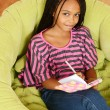 Top view young girl writing in diary — Stock Photo #13469854