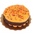 Isolated halloween orange chocolate cake — Stock Photo #13609774