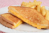 Closeup grilled cheese sandwich with fries — Stock Photo