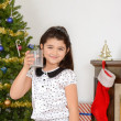 Little girl drank santa milk - Stock Photo