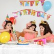 Stock Photo: Little girls birthday party