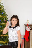 Little girl drank santa milk — ストック写真