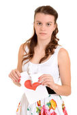 Sad teenager on valentines day — Stock Photo