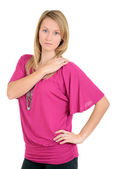 Woman with pink top hand on shoulder — Stock Photo