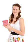 Teen girl holding valentines gift — Stock Photo