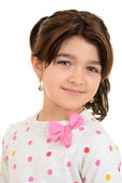 Romanian child wearing pink ribbon bow — Stock Photo