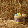 Easter eggs with basket and straw — Stock Photo