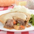 Closeup steak meat pie — Stock Photo