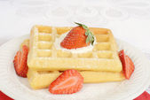 Macro strawberry and cream waffles — ストック写真