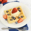 Top view strawberries blueberries ice cream waffles — Stock Photo
