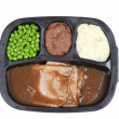 Top view roast beef tv dinner - Stock Photo