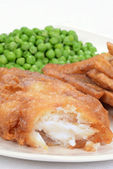 Closeup battered haddock — Stock Photo