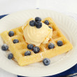 Ice cream blueberry waffle — Stock Photo